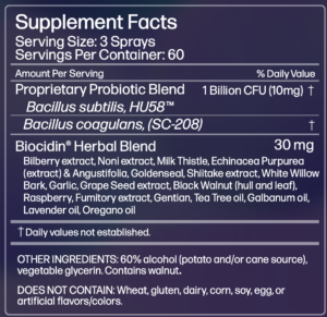 Megacidin Supplement Facts